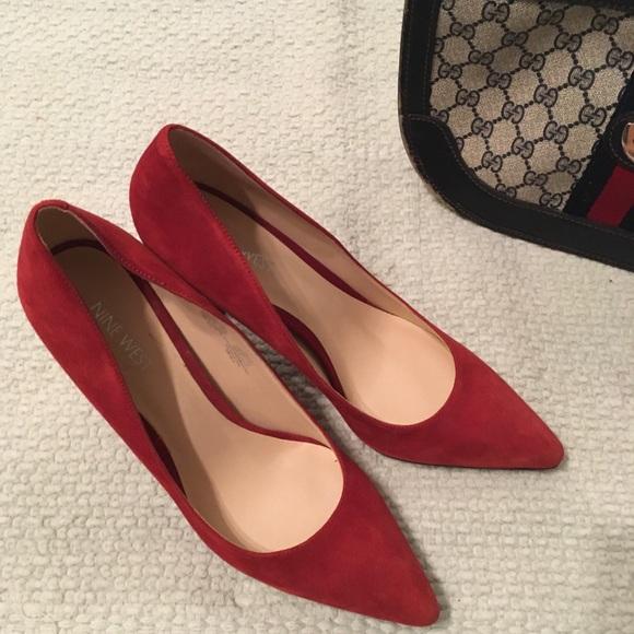 Nine West Shoes - NEW Red Suede pump heel